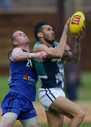 SUN-1402657 © WestPix WAFL Round 17 - East Perth Royals vs Peel Thunder at Leederville Oval, Leederville. Pictured -  Peel's Harley Bennell out marks East Perth's Thomas Hodgson Picture: Daniel Wilkins The Sunday Times