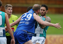 SUN-1402658 © WestPix WAFL Round 17 - East Perth Royals vs Peel Thunder at Leederville Oval, Leederville. Pictured - Peel's Harley Bennell tangles with East Perth's Jonathan Giles in the first term Picture: Daniel Wilkins