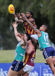 SUN-1402703 © WestPix WAFL Round 18 - Peel Thunder vs Subiaco Lions, at Bendigo Bank Stadium, Mandurah. Pictured - Subiaco's Liam Ryan flies high for a mark over Peel's Sam Collins Picture: Daniel Wilkins