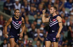 SUN-1402720 © WestPix AFL Round 5 - Fremantle Dockers vs North Melbourne Kangaroos at Subiaco Oval, Perth. Pictured - Fremantle's Ed Langdon celebrates a goal in the last term. Picture: Daniel Wilkins