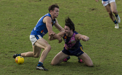 SUN-1402812 © WestPix WAFL Claremont v East Perth at Claremont Oval. Claremont No.6 Ryan Lim Vs East Perth No.11 Benjamin Miller. 29 July 2017 Picture: Ross Swanborough.
