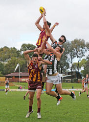 SUN-1402883 © WestPix WAFL Round 20 - Subiaco Lions v Swan Districts Swans, Leederville Oval, Leederville. Pictured - Subaico's Lachlan Delahunty flies for a mark over team mate Adam Creeper Picture: Daniel Wilkins