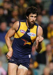 SUN-1402970 © WestPix AFL Round 21 - West Coast Eagles vs Carlton Blues at Subiaco Oval, Perth. Pictured - Eagle Josh Kennedy celebrates a goal in the second term.  Picture: Daniel Wilkins