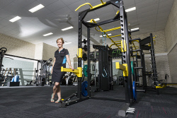SWT-1402458 © WestPix South West Sports Centre Facilities Team Leader Samantha Harnett shows off some of the centres new gym equipment.   Picture: Jon Gellweiler