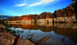 TWA-0005454 © WestPix Iconic Images - The colours of Geikie Gorge aS reflected in the Fitzroy River as the sun sets. Picture: Steve Ferrier 24rd March 2008