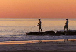 TWA-0007997 © WestPix Fishing at sunset on Cable Beach, Broome.