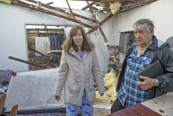 TWA-0036116 © WestPix Noel Nicholas's Clarke Street, Hilton home which was virtually destroyed in this mornings storm. Noel Halton and his daughter Kerry Halton walk through whats left of their home. 14th July 2014 Pic by Steve Ferrier / The West Australian. **  **