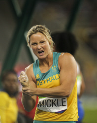 TWA-0051607 © WestPix 2016 Rio Olympics. Rio de Janeiro, Brazil. Kim Mickle injures her shoulder during the Women's javelin throw qualifying. Picture: Simon Santi The West Australian