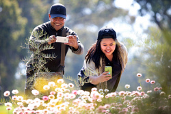 TWA-0053599 © WestPix Friends (L) Bernie Barga and Riestel Mabalhin enjoying the spring wildflowers in bloom at Kings Park today. Picture: Megan Powell The West Australian.