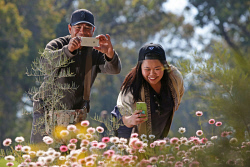 TWA-0053620 © WestPix Friends (L) Bernie Barga and Riestel Mabalhin enjoying the spring wildflowers in bloom at Kings Park today. Picture: Megan Powell The West Australian.