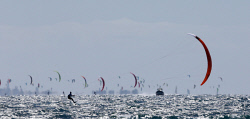 TWA-0059572 © WestPix Lighthouse to Leighton kite surfing race. Featuring AFL Docker Nathan Fyfe (41) and winner Nico Parlier of France setting a race record. Red sail. race winner Parlier way out in front. Picture by Sharon Smith  The West Australian 4 December 2016