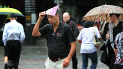 TWA-0062550 © WestPix Brollies on parade in Perth city as the rain comes down. PICTURE: NIC ELLIS   THE WEST AUSTRALIAN
