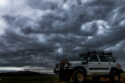 TWA-0062826 © WestPix Nissan Patrol parked on top of the Baynton Hills as the storm roll sover on Sunday evening. Picture: Tom Zaunmayr.