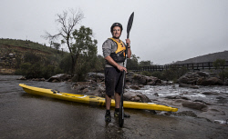 TWA-0063023 © WestPix Brendan Thomson at Bells Rapids. The plumber took time from his day to come and see the water level at the rapids for himself, never having seen levels like this during summer ever before. Picture: Simon Santi The West Australian
