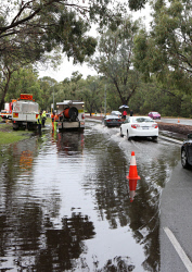 TWA-0063164 © WestPix Perth has been hammered by wet weather. Traffic on Jon Sanders Drive in Osborne Park.  Picture: Justin Benson-Cooper The West Australian