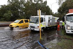 TWA-0063503 © WestPix Perth has been hammered by wet weather. Pictured is traffic on Jon Sanderson Drive in Osborne Park.  Picture - Justin Benson-Cooper The West Australian
