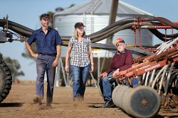 TWA-0067226 © WestPix Frank and Kerryn Chia, with Kerryn's father Des O'Connell, prepare for seeding on the family farm at Duranillin. The family only received 1mm of rain during April on the property. 28 APRIL 2017 Picture: Danella Bevis The West Australian