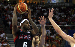 TWA-0068773 © WestPix USA v Spain in their group match at the 2008 Beijing Olympics. Lebron James of the U.S in action. Photographed Saturday 16th  August 2008, by Mal Fairclough  The West Australian.