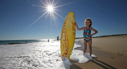 TWA-0070843 © WestPix Sun lovers lapped up the winter sunshine at City Beach this Sunday. Five year old Scotty Lawless is happy to be in the water despite it being winter. Picture: Sharon Smith The West Australian