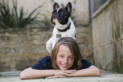 TWA-0070979 © WestPix 13 year-old Jamie McDonald of Floreat with 6-month old French Bulldog, Milo. Picture: Simon Santi The West Australian
