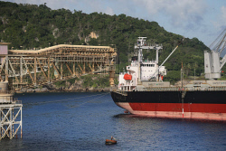 TWA-0070990 © WestPix A ship prepares to be loaded with phosphate from Christmas Island Phosphates at Flying Fish Cove. Christmas Island travel feature. 12 JUNE 2017 Picture: Danella Bevis The West Australian