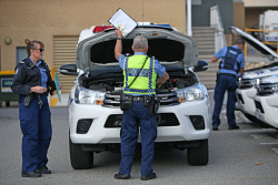 TWA-0070995 © WestPix WA Police Union members perform work to rule vehicle checks at Mirrabooka Police Station. Picture: Megan Powell The West Australian.