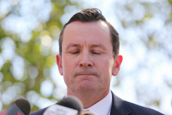 TWA-0070998 © WestPix Premier Mark McGowan chats to the media out the front of Dumas House Picture: Daniel Wilkins