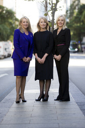 TWA-0071013 © WestPix Sisters Elizabeth Gaines, Jo Gaines and Alison Gaines in Perth CBD.  Picture: Simon Santi The West Australian