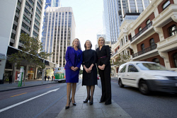 TWA-0071014 © WestPix Sisters Elizabeth Gaines, Jo Gaines and Alison Gaines in Perth CBD.  Picture: Simon Santi The West Australian