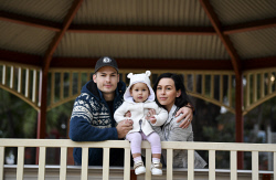 TWA-0071035 © WestPix Budget case study - Randall and Emily Tomini with Alina, 17 months. Picture: Ian Munro The West Australian 22/06/17