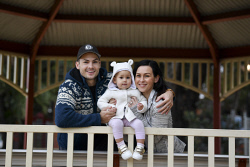TWA-0071036 © WestPix Budget case study - Randall and Emily Tomini with Alina, 17 months. Picture: Ian Munro The West Australian 22/06/17