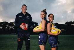 TWA-0071049 © WestPix West Coast Eagles Drew Petrie and Adam Selwood are driving a push to have a women's Eagles team included in the new AFLW competition. Pictured is Drew Petrie and players Sharyce Krakouer and Courtney Hodder. Pic: Michael Wilson The West Australian