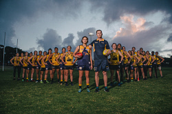 TWA-0071050 © WestPix West Coast Eagles Drew Petrie and Adam Selwood are driving a push to have a women's Eagles team included in the new AFLW competition. Pictured is Drew Petrie and players Sharyce Krakouer and Courtney Hodder. Pic: Michael Wilson The West Australian