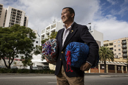 TWA-0071074 © WestPix New Rotary Perth President Stephen Inouye wants to gather 500 sleeping bags to give to the homeless in Cambodia. Pic: Michael Wilson The West Australian