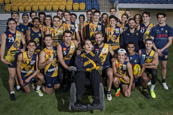 TWA-0071078 © WestPix Warrick Proudlove is pictured with his former Claremont Tigers team mates ahead of the Warrick Proudlove Foundation game on Saturday. Pic: Michael Wilson The West Australian
