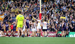 TWA-0072395 © WestPix AFL Football Round 18 Fremantle Dockers v West Coast Eagles at Patersons Stadium, Perth, WA. Dean Cox celebrates the Eagles' one point victory. Picture: Ian Munro / The West Australian 24th July 2011.