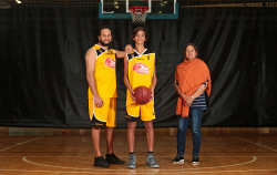 TWA-0072429 © WestPix Violet Pickett, centre, with her son Roger Pickett and his son Jermaine Pickett. Roger and Jermaine were on court in the same team at the Bendat Basketball Centre as part of NAIDOC week. 9 JULY 2017 Picture: Danella Bevis The West Australian