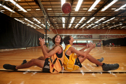 TWA-0072430 © WestPix Ethan Morrison, 15, of Pinjarra Panthers, and Jermaine Pickett, 14, of Wheelies, were on the basketball court at the Bendat Basketball Centre as part of NAIDOC Week. 9 JULY 2017 Picture: Danella Bevis The West Australian