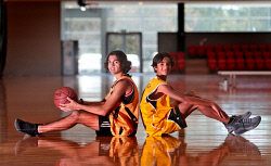 TWA-0072431 © WestPix Ethan Morrison, 15, of Pinjarra Panthers, and Jermaine Pickett, 14, of Wheelies, were on the basketball court at the Bendat Basketball Centre as part of NAIDOC Week. 9 JULY 2017 Picture: Danella Bevis The West Australian