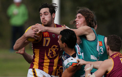 TWA-0072526 © WestPix WAFL Round 18 - Peel Thunder vs Subiaco Lions, at Bendigo Bank Stadium, Mandurah. Pictured - Subiaco's Lachlan Delahunty tries to break the tackle of Peel's Michael Tassone. Picture: Daniel Wilkins