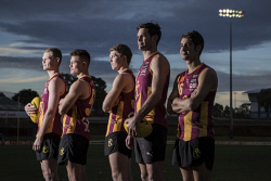 TWA-0072530 © WestPix WAFL: Subiaco Football Club players Ryan Vermeersch, Ethan Burnett, Brayden Ainsworth, Clancy Wheeler & Shannon Nelson. Picture: Michael Wilson The West Australian