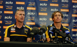 TWA-0072806 © WestPix Coach Adam Simpson with West Coast Eagles star Matt Priddis as he announces his retirement.  PICTURE NIC ELLIS   THE WEST AUSTRALIAN