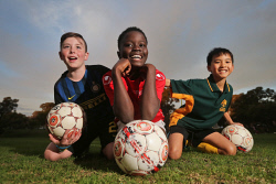 TWA-0072858 © WestPix Lochlann Edwards, Fred Sheriff and Declan Liew play in the Wembley Downs Soccer Club under-12s team. 25 JULY 2017 Picture: Danella Bevis The West Australian