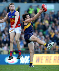TWA-0072873 © WestPix West Coast Eagles vs Brisbane Lions at Subiaco Oval. Josh Kennedy marks. Picture: Sharon Smith The West Australian