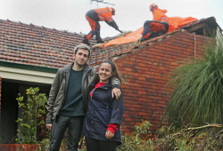TWA-0072925 © WestPix Siblings Warren and Andrea Jansen were not hurt when fallen tree branches felled power lines and damaged their home on Lismore Court, Duncraig. The pair said the response from the SES and community had been fantastic. Damage from storm front. 31 JULY 2017 Picture: Danella Bevis The West Australian