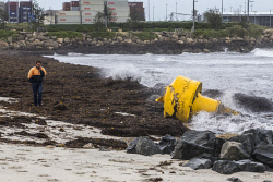 TWA-0072928 © WestPix A buoy is pulled from its mooring and washed up on Port Beach, Fremantle. Picture: Simon Santi The West Australian