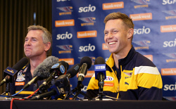 TWA-0073038 © WestPix Former Hawthorn great and West Coast Eagles player Sam Mitchell has announced his retirement from AFL football, with coach Adam Simpson at his press conference. Picture: Megan Powell The West Australian.