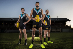 TWA-0073060 © WestPix Port Adelaide players Brad Ebert, Paddy Ryder and Sam Powell at their home ground. Picture: Simon Santi The West Australian