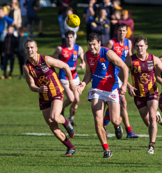 TWA-0073061 © WestPix WAFL, Subiaco v West Perth at Kingsway Reserve. West Perth's Andrew Strijk leads Subiaco players Christopher Bryan and Graig Hoskins to the ball. Picture: Mogens Johansen, The West Australian