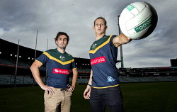 TWA-0073280 © WestPix Nat Fyfe and Andrew Gath picture at the launch of the Internalional team to face Ireland in Perth.  Picture: Steve Ferrier The West Australian.